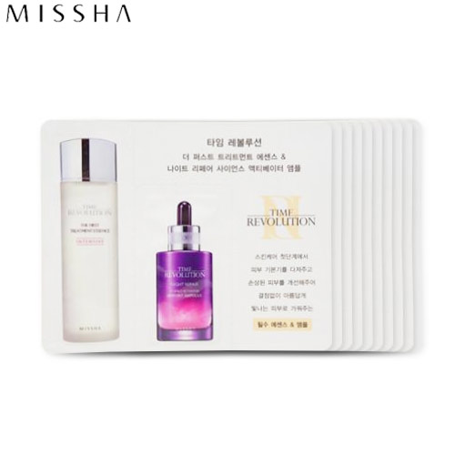 [mini] MISSHA Time Revolution The First Treatment Essence [Intensive Moist] & Night Repair Science Activator Ampoule *10ea [WS],MISSHA,Beauty Box Korea