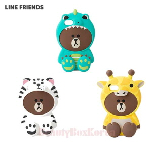 LINE FRIENDS Wannabe Brown Silicone Bumper Phone Case 1ea,Beauty Box Korea