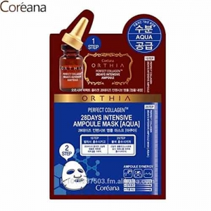 COREANA Orthia Perfect Collagen 28days Intensive Ampoule AQUA Mask 25ml, COREANA