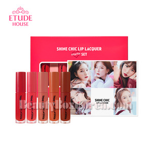 ETUDE HOUSE New Shine Chic Lip Lacquer Mini Best 5 Colors & Red Velvet Photocard Set