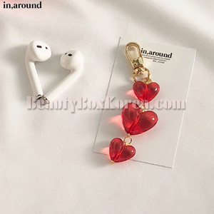IN AROUND Red Drop Heart AirPods Keyring 1ea