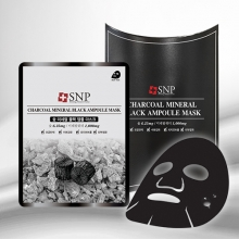SNP Charcoal Mineral Black Ampoule Mask [10 sheet], SNP