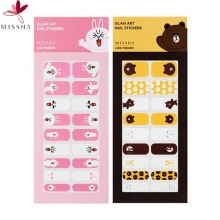 MISSHA Glam Art Nail Sticker 1 sheet /18 strips (2 types) [Line Friends Editions], MISSHA