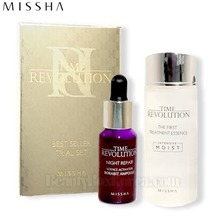 [mini] MISSHA Time Revolution Best Seller Trial Set 2items (The First Treatment Essence [Intensive Moist] 30ml & Night Repair Science Activator Ampoule 10ml), MISSHA